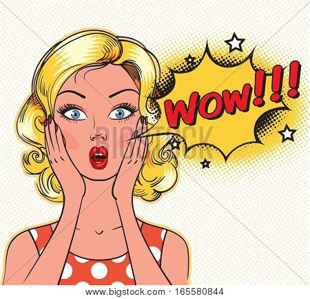Surprised woman face with open mouth. WOW bubble. Pin up comics style. Vector illustration