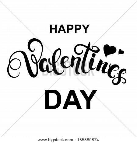 Happy Valentines day handwritten callygraphy with hearts on white background. Text for greeting card. Vector Illustration.