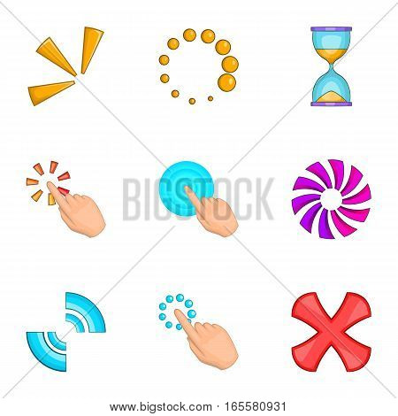 Computer mouse click icons set. Cartoon illustration of 9 computer mouse click vector icons for web