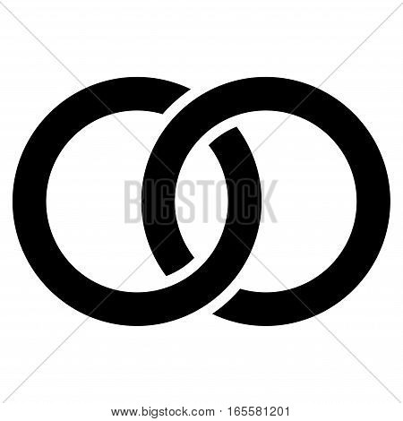 Wedding Rings vector icon. Flat black symbol. Pictogram is isolated on a white background. Designed for web and software interfaces.
