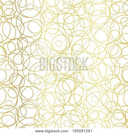Vector Golden Abstract Circles Bubbles Seamless Pattern Background. Great for elegant gold texture fabric, cards, wedding invitations, wallpaper. Surface pattern design.