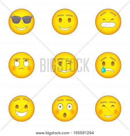 Emoji character icons set. Cartoon illustration of 9 emoji character vector icons for web