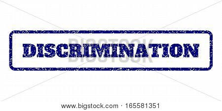 Navy Blue rubber seal stamp with Discrimination text. Vector message inside rounded rectangular shape. Grunge design and scratched texture for watermark labels.