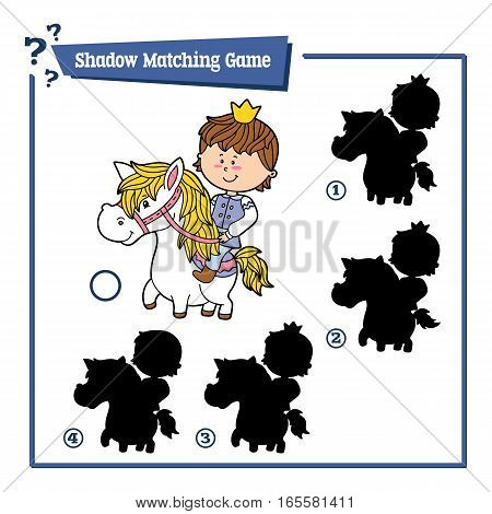 Vector illustration of educational shadow matching game with cartoon boy for children