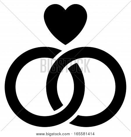 Wedding Rings With Heart vector icon. Flat black symbol. Pictogram is isolated on a white background. Designed for web and software interfaces.