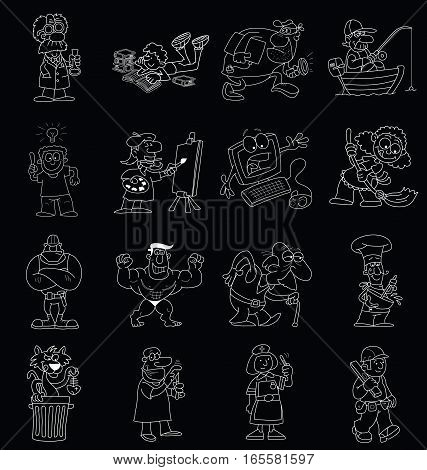 Monochrome outline cartoon collection isolated on black background