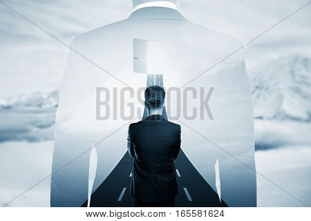 Thoughtful young businessperson in front open door with opportunities. Success concept. Double exposure