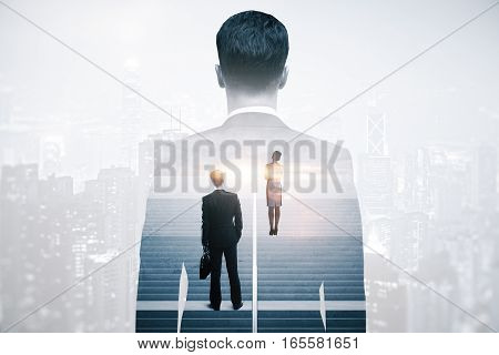 Abstract image of thoughtful businesspeople standing on concrete stairs with bright light. City background. Success concept. Double exposure