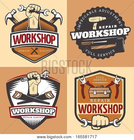 Vintage repair workshop emblem set with impeccable adjustment full service repair workshop headline vector illustration