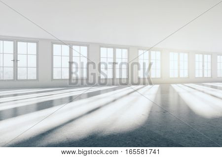bright interior with concrete walls and window with city view. 3D Rendering