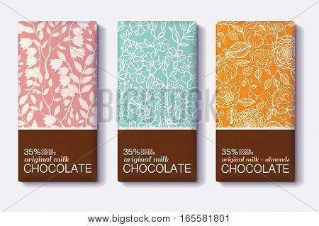 Vector Set Of Chocolate Bar Package Designs With Vintage Floral Patterns. Milk, Dark, Almond. Editable Packaging Template Collection. Surface pattern design.