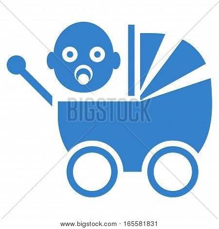 Baby Carriage vector icon. Flat cobalt symbol. Pictogram is isolated on a white background. Designed for web and software interfaces.