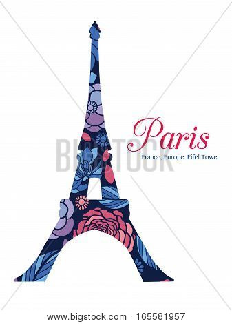 Vector Floral Eifel Tower Paris On St Valentines Day Of Love. Perfect for travel themed postcards, greeting cards, wedding invitations, products, bags, accessories, luggage, clothing.