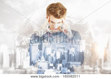 Pensive young man on abstract city and space background. Doouble exposure. Research concept.