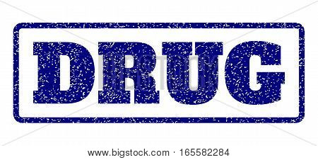 Navy Blue rubber seal stamp with Drug text. Vector tag inside rounded rectangular banner. Grunge design and scratched texture for watermark labels. Horisontal sign on a white background.