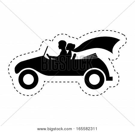Couple of newlyweds character in car vector illustration design