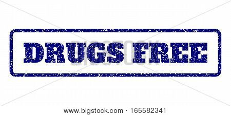 Navy Blue rubber seal stamp with Drugs Free text. Vector message inside rounded rectangular frame. Grunge design and scratched texture for watermark labels. Horisontal sign on a white background.