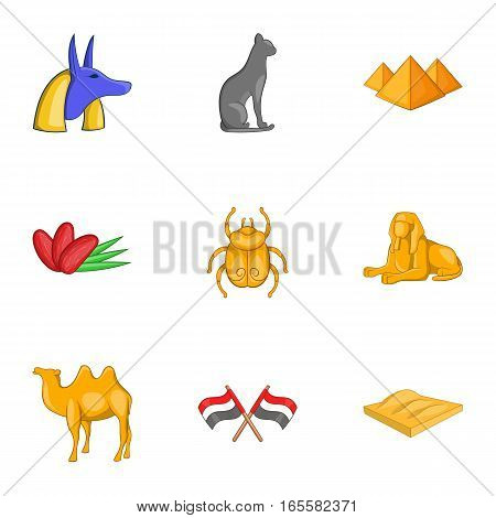 Attributes ancient Egypt icons set. Cartoon illustration of 9 attributes ancient Egypt vector icons for web