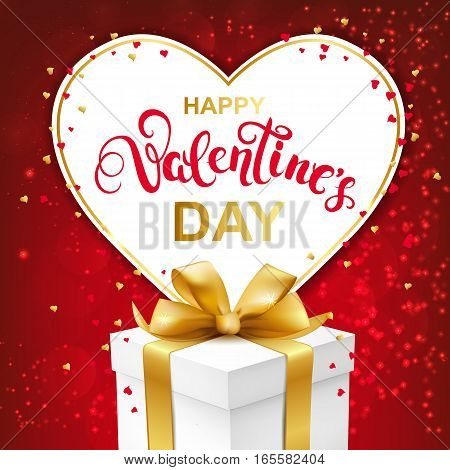 Happy Valentines day greeting card with handwritten lettering and gift box with gold bow. Paper heart frame and confetti on red sparkles background. Vector Illustration.