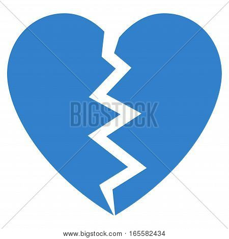 Broken Heart vector icon. Flat cobalt symbol. Pictogram is isolated on a white background. Designed for web and software interfaces.