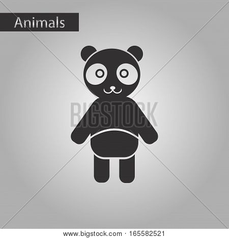 black and white style icon of Panda bear