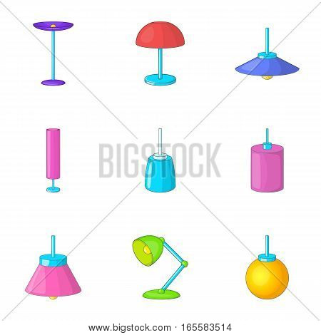Lamp furniture icons set. Cartoon illustration of 9 lamp furniture vector icons for web