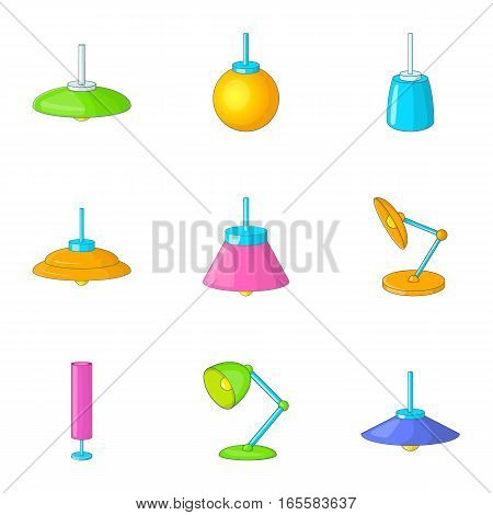 Lamp icons set. Cartoon illustration of 9 lamp vector icons for web