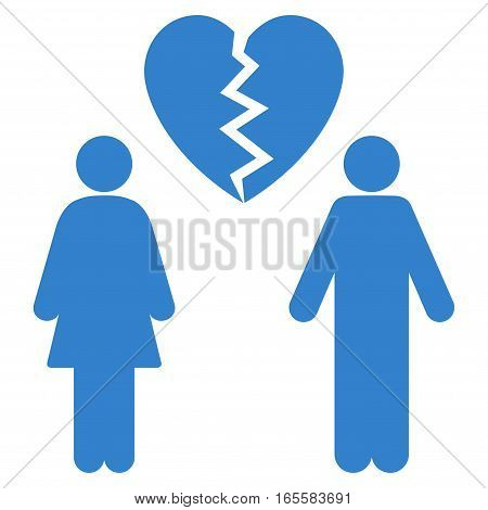Family Divorce vector icon. Flat cobalt symbol. Pictogram is isolated on a white background. Designed for web and software interfaces.