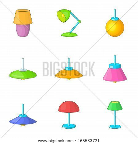 Electricity floor lamp icons set. Cartoon illustration of 9 electricity floor lamp vector icons for web