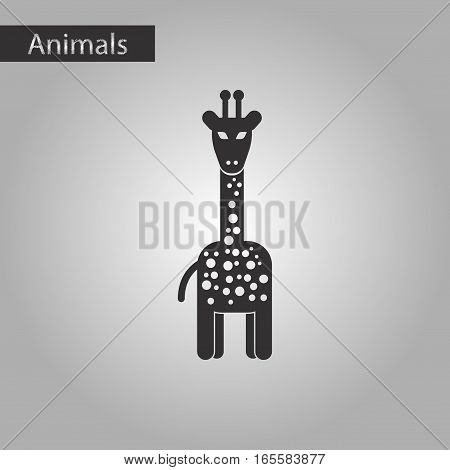 black and white style icon of giraffe