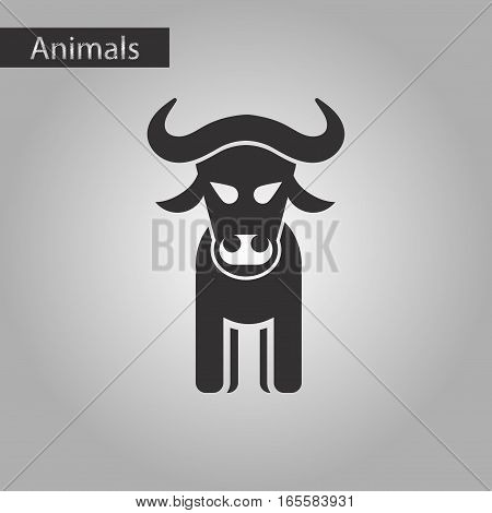 black and white style icon of bull