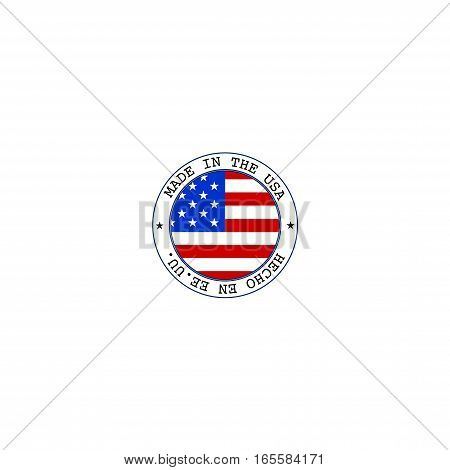 Vector made in USA stamp with flag. Signs and symbols