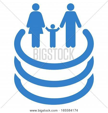 Family Portal vector icon. Flat cobalt symbol. Pictogram is isolated on a white background. Designed for web and software interfaces.
