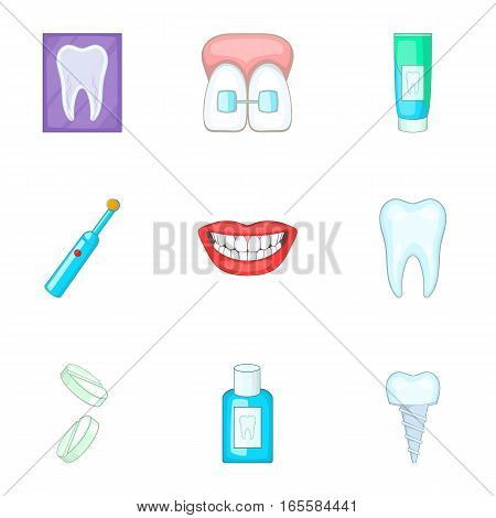 Dentist equipment icons set. Cartoon illustration of 9 dentist equipment vector icons for web
