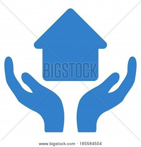 Home Care Hands vector icon. Flat cobalt symbol. Pictogram is isolated on a white background. Designed for web and software interfaces.