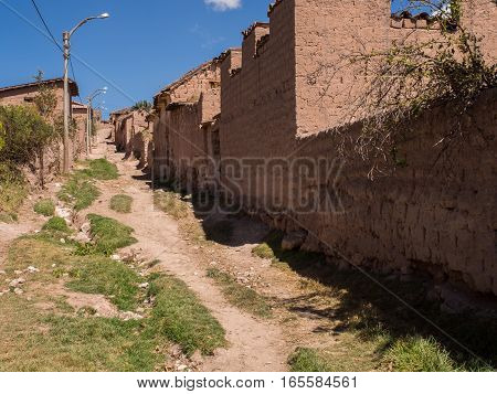 Maras Peru - May 20 2016: Local road in small village in Peru.