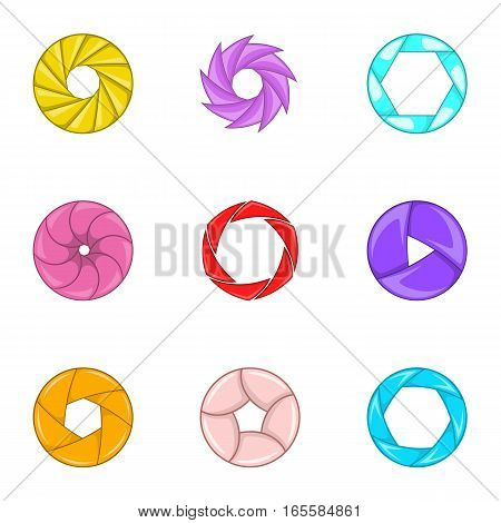 Lens aperture icons set. Cartoon illustration of 9 lens aperture vector icons for web
