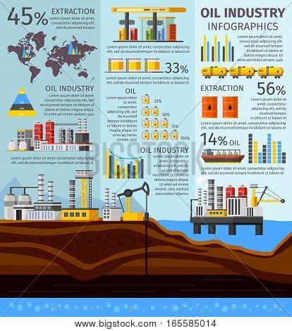 Petroleum industry infographics with oil extraction platform factory barrels drilling rig gas station and vehicles vector illustration