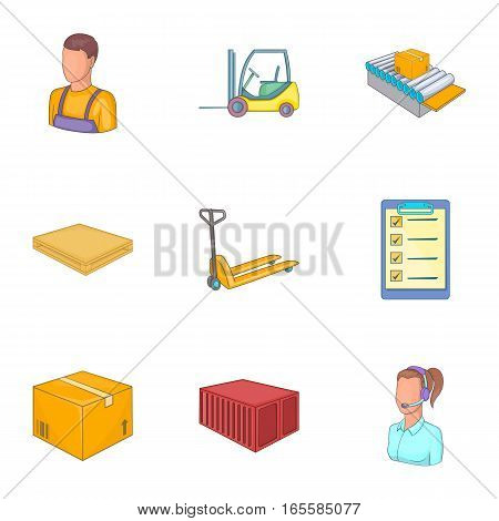 Warehouse transportation and delivery icons set. Cartoon illustration of 9 warehouse transportation and delivery vector icons for web