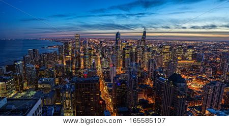 Chicago Building Sunset Skyline at Night with Michigan Lake