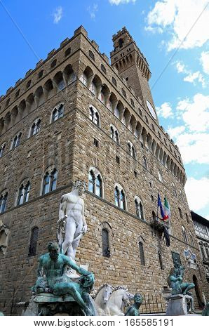 Statue Of Neptune In The Fountain In Florence And Palazzo Vecchi