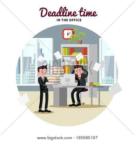 Office people template with workers in stress and tense atmosphere at deadline time vector illustration