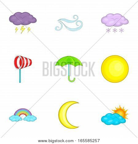 Weather icons set. Cartoon illustration of 9 weather vector icons for web