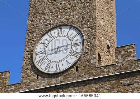 Detail Of Ancient Clock Tower Of Old Palace In Florence Italy