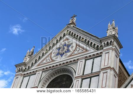 Facade Of Ancient Church Called Santa Croce In Florence
