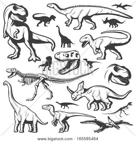 Vintage dinosaurs collection with different herbivore and carnivore creatures of cretaceous and jurassic periods isolated vector illustration