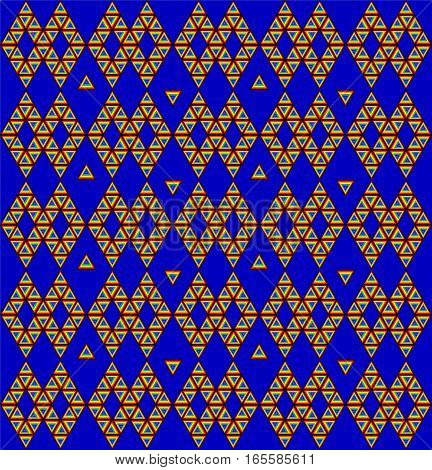 Geometric symmetrical pattern vector of triangles and triangle groups with rainbow colors plus black vibrant blue background