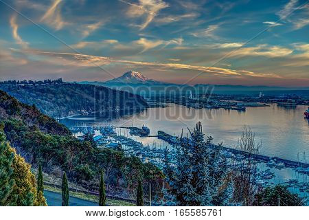 A view of Mount Rainier and the Port of Tacoma. HDR image.
