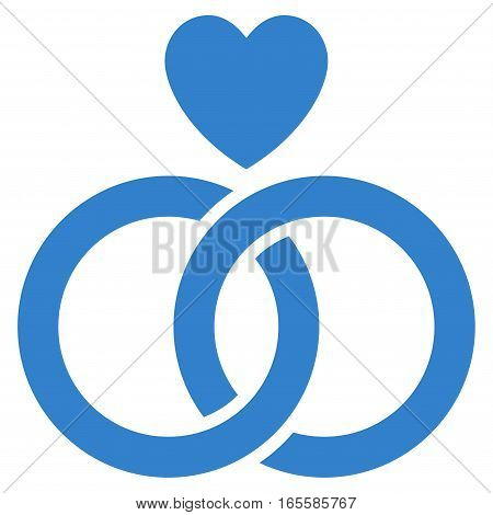 Wedding Rings With Heart vector icon. Flat cobalt symbol. Pictogram is isolated on a white background. Designed for web and software interfaces.