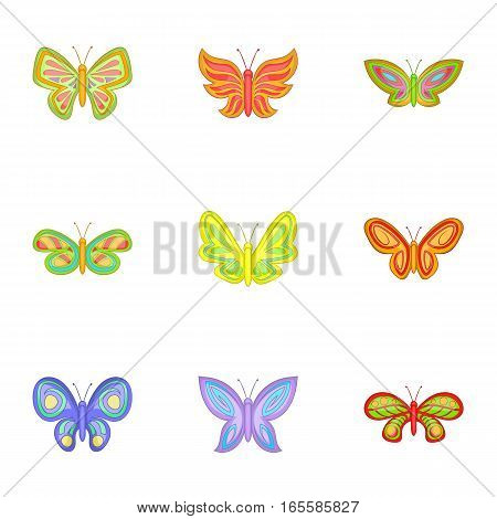 Butterfly insect icons set. Cartoon illustration of 9 butterfly insect vector icons for web